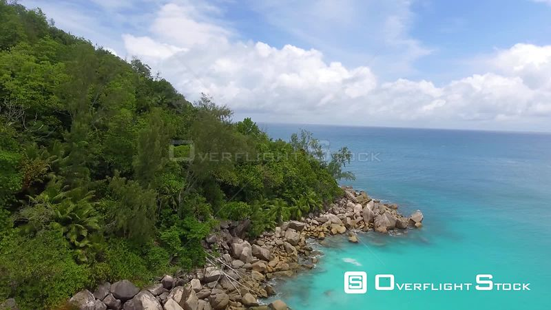 Aerial view of Anse Georgette Rocks in Praslin Island, Seychelles