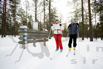 Skiers in Lauhanvuori National Park