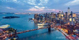 Aerial of lower Manhattan skyline and Brooklyn bridge, NY, USA