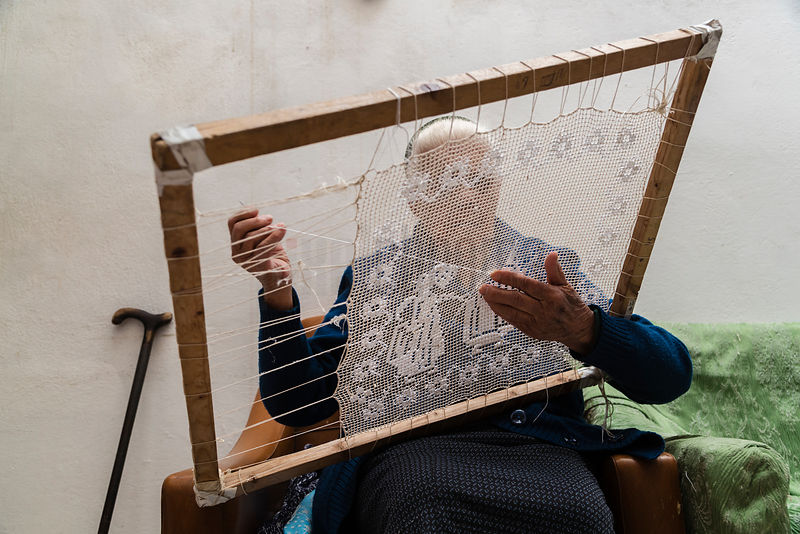"Maria Sulas Practising the Traditional Craft of ""Filet"" on her 103rd Birthday"