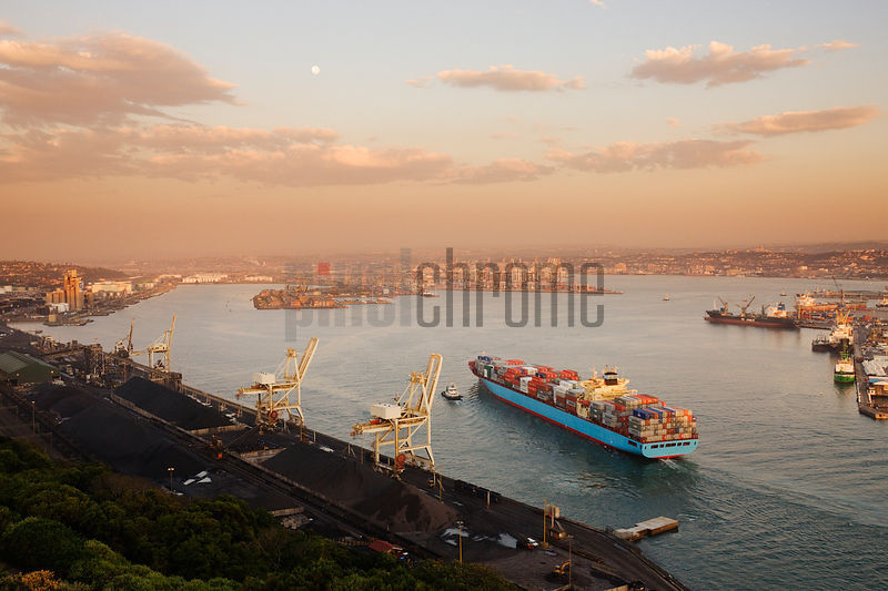 Container Ship Entering Durban Harbor
