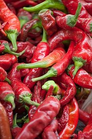 Fresh chili at local street market in DUnhuang, China