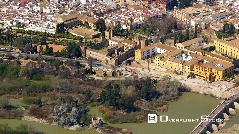 Historic city center with CathedralMosque in center and Roman bridge spanning Guadalquivir river Cordoba Spain