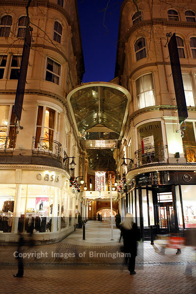 The Burlington Arcade and hotel, Birmingham City Centre. Retail outlets at Christmas time.