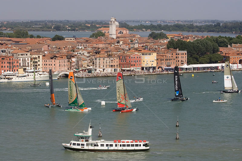 Aerial view of the Extreme 40 fleet racing towards the windward mark with Ecover out in front. iShares Cup regatta, Venice, Italy. May 2009.