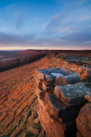 Winter sunset on Stanage Edge