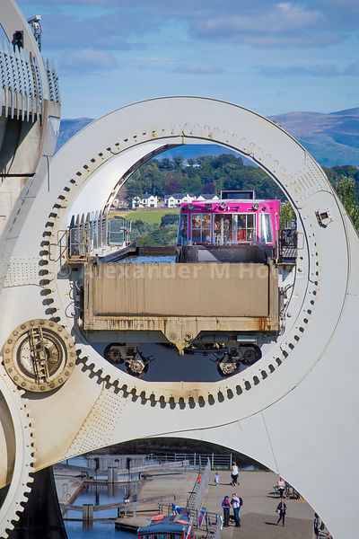 Closeup of a boat as it rotates on the Falkirk Wheel