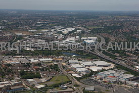 Birmingham high level wide angle aerial photograph of the  M6 Motorway and the Gravelly Hill interchange Spaghetti Junction and the Aston Express Way A38 (M)