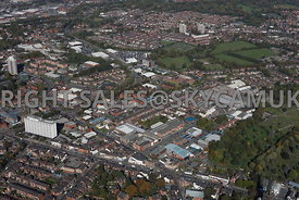 Stockport aerial photograph of the A6 Wellington road south showing mixed industrial units and St Christopher's House