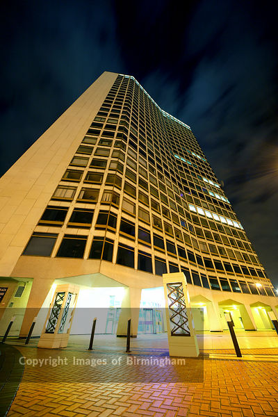 Alpha Tower in Birmingham at night
