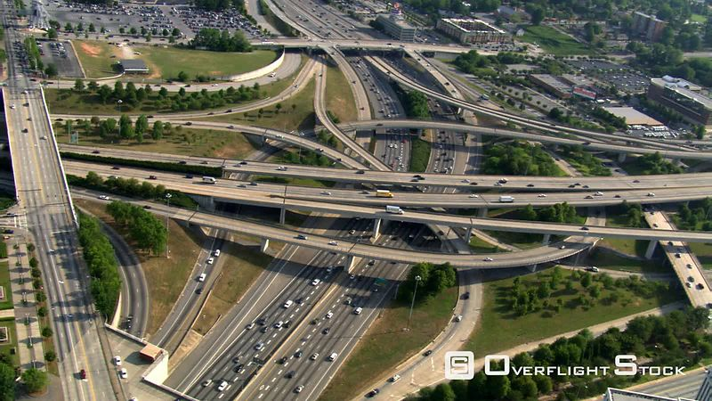 Looking down onto freeway interchange in Atlanta, Georgia.