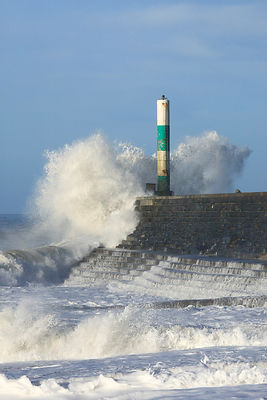 Waves breaking on stone jetty, Aberystwyth