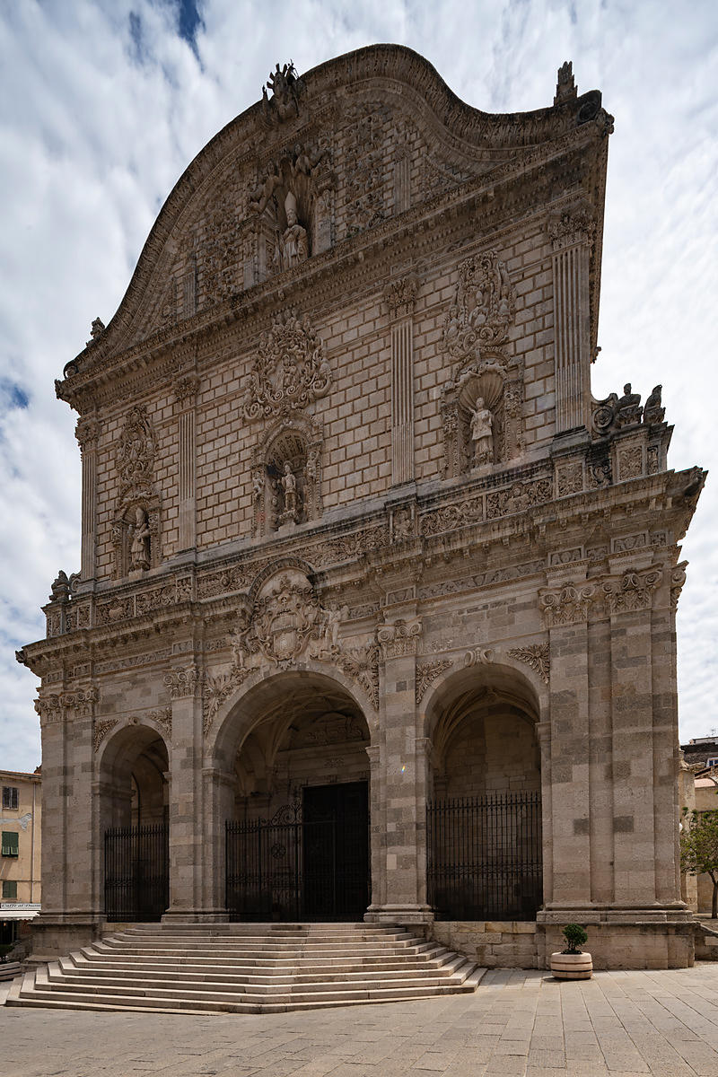 The Facade of San Nicolas Cathedral in Sassari