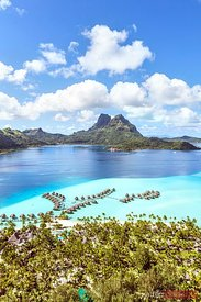 Aerial view of Bora Bora island with Pearl beach resort, French Polynesia