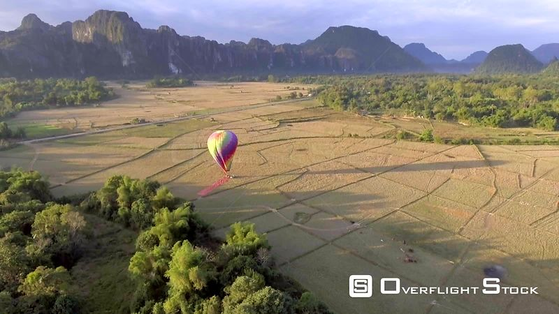 Hot Air Balloon near Village of Vang Vieng Laos