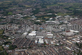 Bury aerial photograph of Bury Mill Gate and the Rock shopping centre in the Bury town centre and the industrial retail parks on the south side of the town