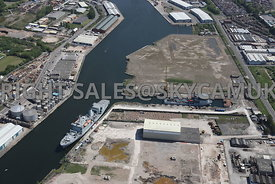 Old Docklands Industrial site, Wasteland, Mobil and Royal Naval Ships West Float North Birkenhead