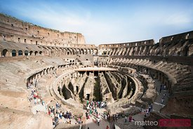 Interior of the Colosseum with tourists, Rome, Italy