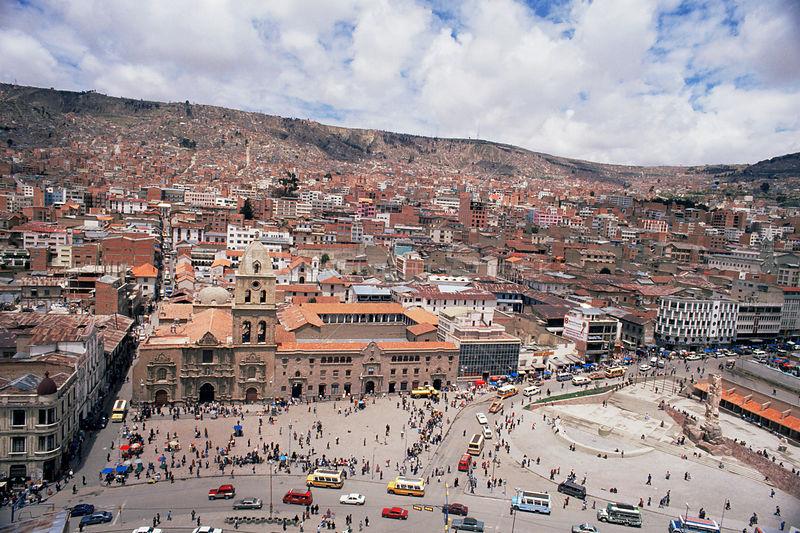 Looking down on San Francisco Plaza, La Paz, Bolivia