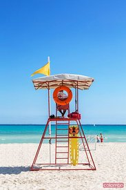 Lifeguard tower on sandy beach in the caribbean, Mexico