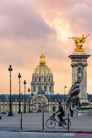 Les Invalides dome from Alexander III bridge, Paris, France