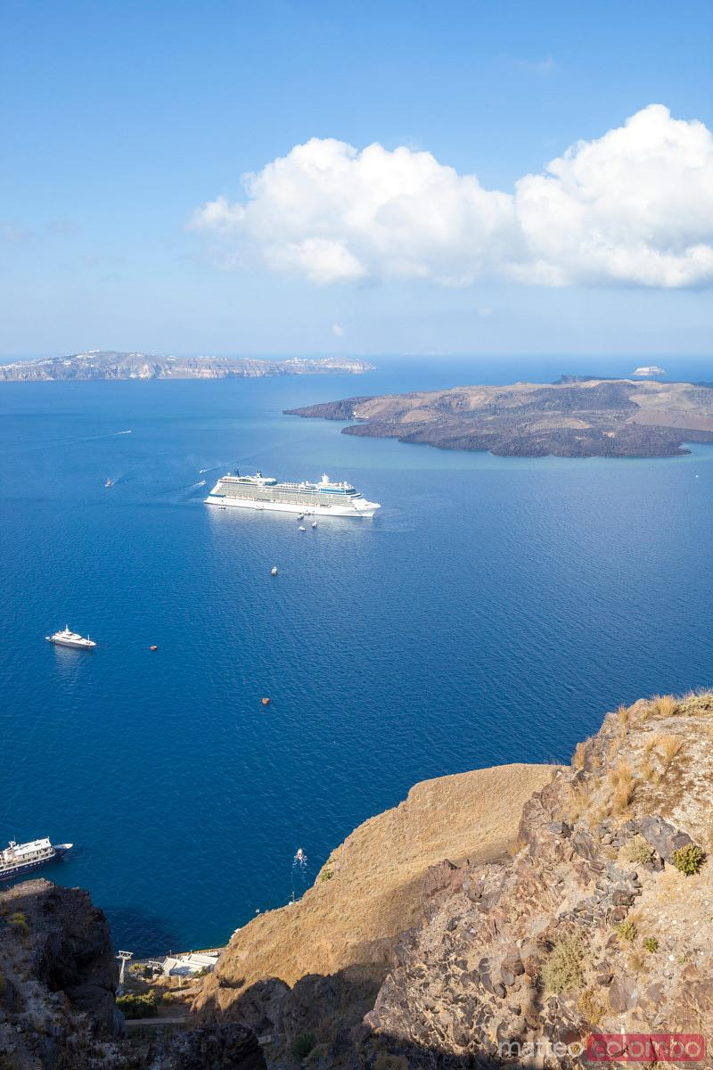 View of Santorini island and harbor with cruise ship from Fira Greece