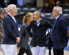 Bordeaux, France, 3.2.2018, Sport, Reitsport, Jumping International de Bordeaux - LONGINES FEI WORLD CUP™ JUMPING. Bild zeigt Roger ives Bost, Philippe Guerdat, Olivier Robert...3/02/18, Bordeaux, France, Sport, Equestrian sport Jumping International de Bordeaux - LONGINES FEI WORLD CUP™ JUMPING. Image shows Roger ives Bost, Philippe Guerdat, Olivier Robert.
