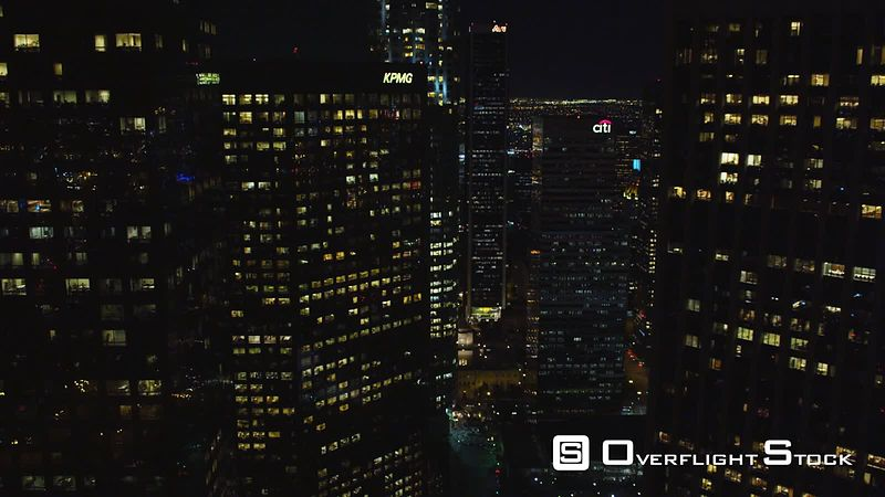 Flying between skyscrapers in downtown Los Angeles at night. Shot in October