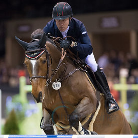 Bordeaux, France, 3.2.2018, Sport, Reitsport, Jumping International de Bordeaux - LONGINES FEI WORLD CUP™ JUMPING. Bild zeigt Michael WHITAKER (GBR) riding JB's Hot Stuff (5*)...3/02/18, Bordeaux, France, Sport, Equestrian sport Jumping International de Bordeaux - LONGINES FEI WORLD CUP™ JUMPING. Image shows Michael WHITAKER (GBR) riding JB's Hot Stuff (5*).