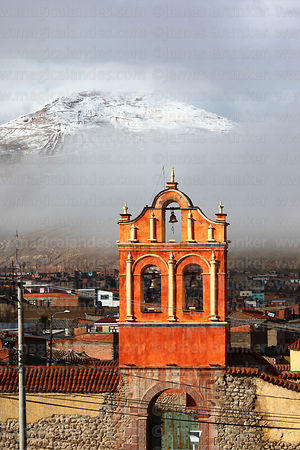 San Sebastian church with snow covered Cerro Rico in background, Potosí, Bolivia