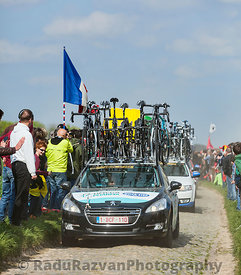 The Car of Omega Pharma- Quick StepTeam on the Roads of Paris Roubaix Cycling Race