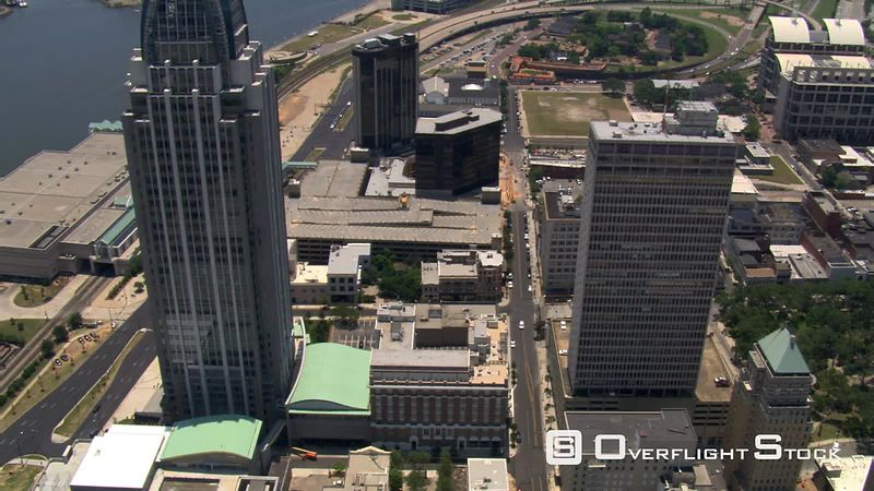 Flying over downtown Mobile, Alabama.