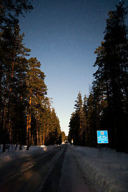 The Road Through Pyhä-Häkki National Park in the Moon Light