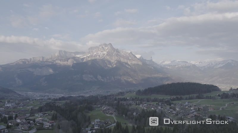 Aerial Panoramic View of Mont Blanc Mountain Formation Filmed by Drone from Cordon Village, Haute-savoie, France