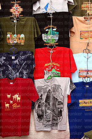 Machu Picchu T-shirts for sale in Pisac market, Sacred Valley, Peru