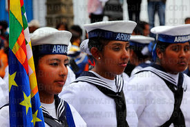 Female Navy cadets during street parades for Dia del Mar / Day of the Sea , La Paz , Bolivia