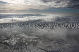 Winter aerial photograph of the winter weather conditions over the Pennines