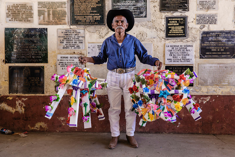 Man Selling Decorative Crosses at the Cemetery at El Calvario