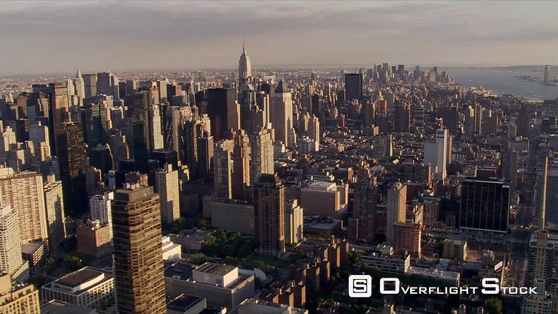 Aerial view of Empire State Building with Lower Manhattan