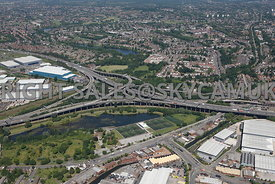 Birmingham high level aerial photograph of the Spaghetti Junction Gravelly Hill M6 motorway