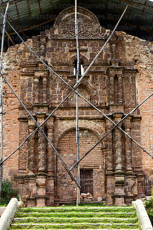 Main entrance facade of Santa Cruz of Jerusalem church, Juli, Puno Region, Peru