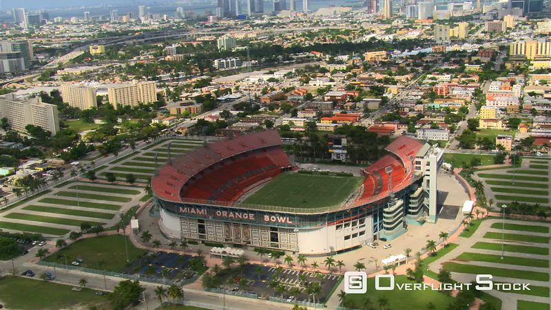 Orbiting Miami Orange Bowl stadium.