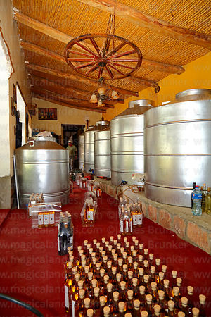 Stainless steel singani storage tanks and bottles in the Cepas de mi Abuelo bodega, Villa Abecia, Chuquisaca Department, Bolivia