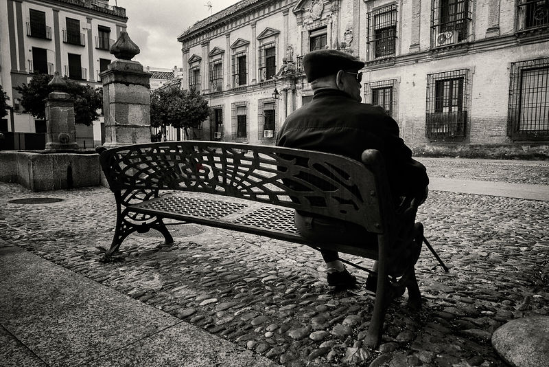 Old Man Sitting on Bench