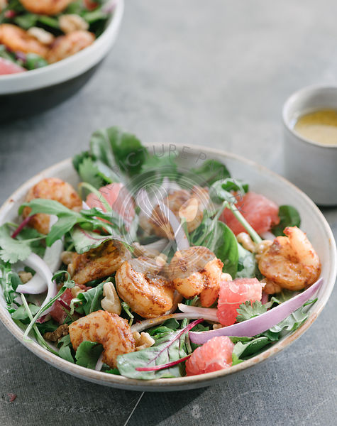 Grapefruit and Shrimp Salad with fresh greens and lemon vinaigrette.
