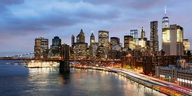 Panoramic of Manhattan skyline at dusk, New York, USA