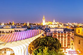 Seville skyline from Metropol parasol, Andalusia, Spain