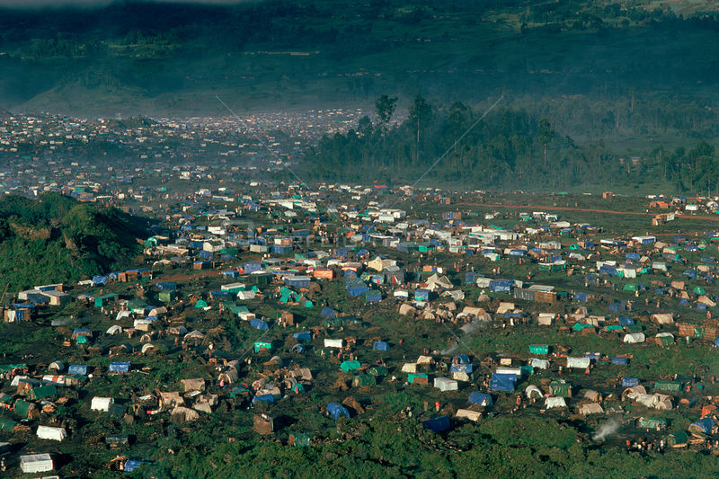 Kibumba refugee camp for Rwandan Hutu refugees. Virunga NP, Republic of Congo, Africa