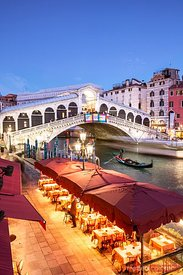 Rialto bridge at dusk, elevated view, Venice, Italy