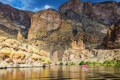 Boat on Scenic Canyon Lake in Arizona